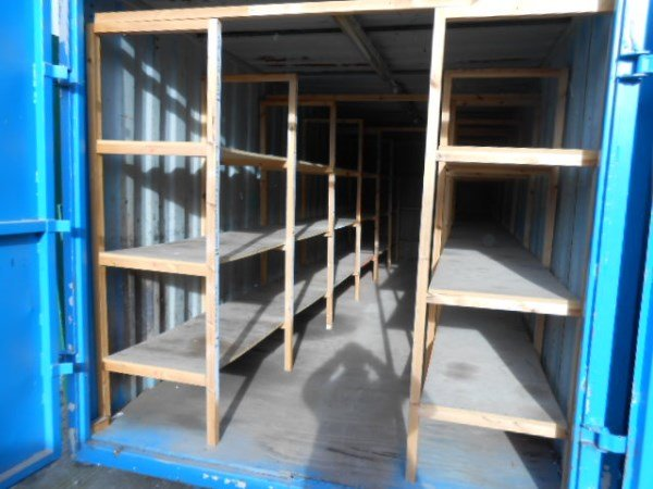 24ft Storage Unit with Racking & 24ft Storage Container with Racking - Container Cabins Ltd
