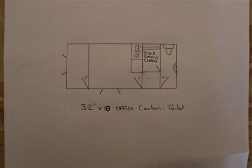 32ft x 10ft Flat Panel Steel Office with Canteen & Toilet