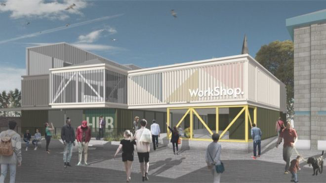 £1.6m hub for a community arts, office and conference space will be built in a Cheltenham car park from 31 shipping containers
